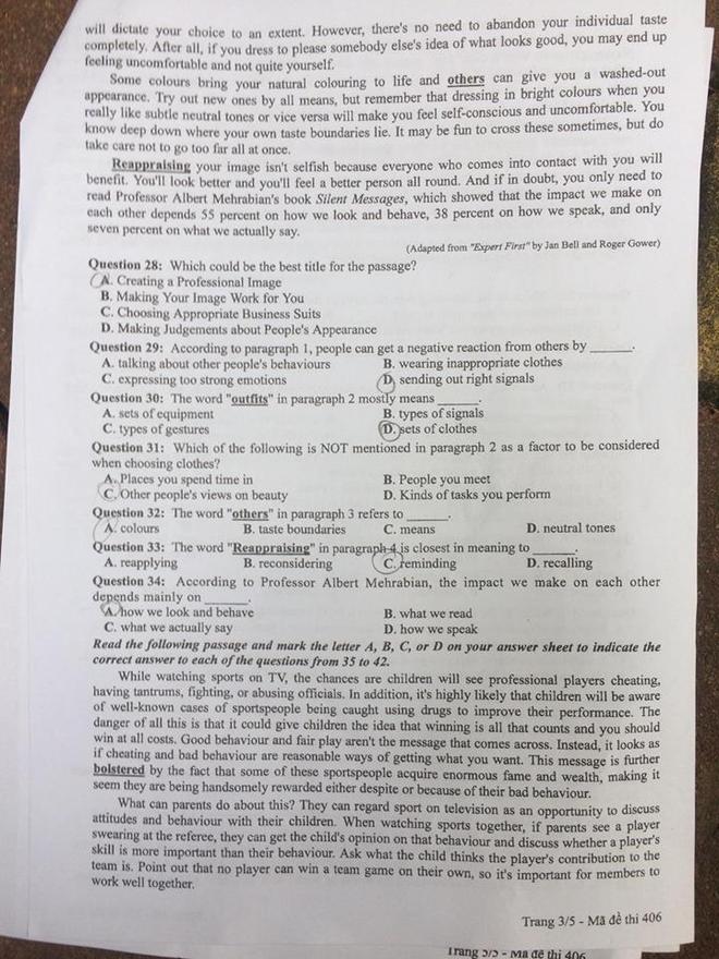 Gợi ý đáp án tất cả các mã đề thi môn Ngoại ngữ kỳ thi THPT Quốc gia 2018 - Ảnh 25.