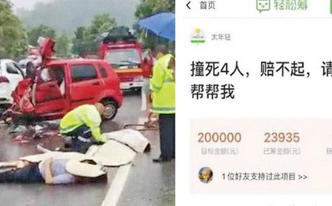 Trung Quốc: Đâm chết 4 người, tài xế huy động cộng đồng mạng quyên góp tiền bồi thường