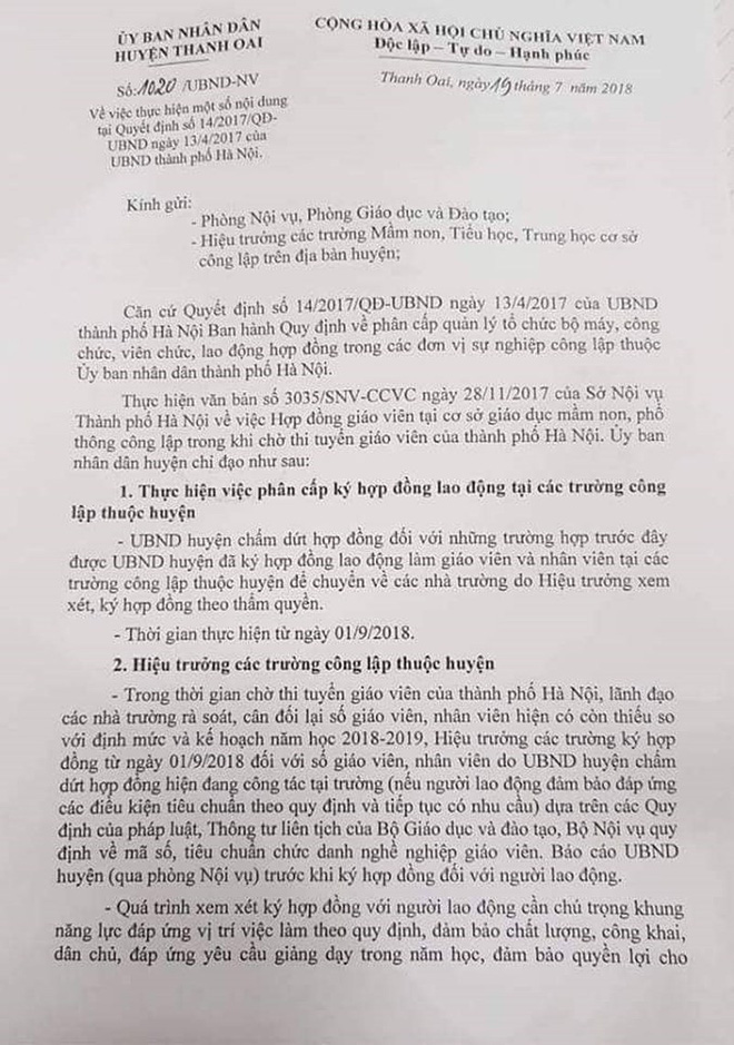 600 giáo viên hợp đồng Hà Nội trước nguy cơ mất việc - Ảnh 1.