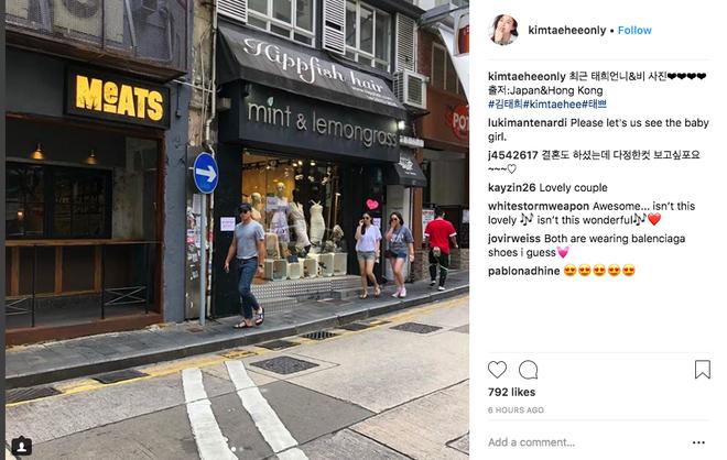 Lộ ảnh Kim Tae Hee phát tướng sau khi sinh con, vui vẻ đi hẹn hò với Bi Rain ở Hong Kong? - Ảnh 1.