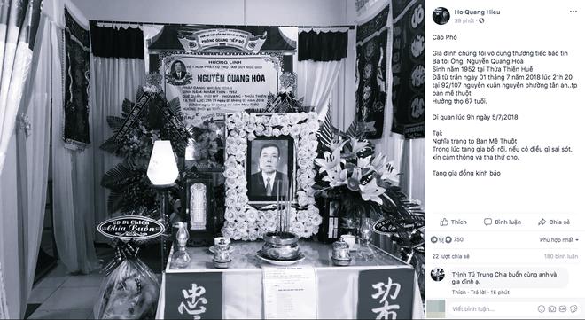 Bạn bè, người hâm mộ gửi lời chia buồn khi hay tin ba của Hồ Quang Hiếu qua đời - Ảnh 1.