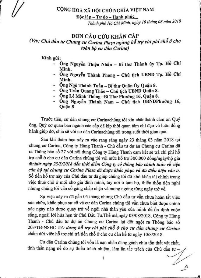Cư dân Carina làm đơn cầu cứu Bí thư Nguyễn Thiện Nhân - Ảnh 2.