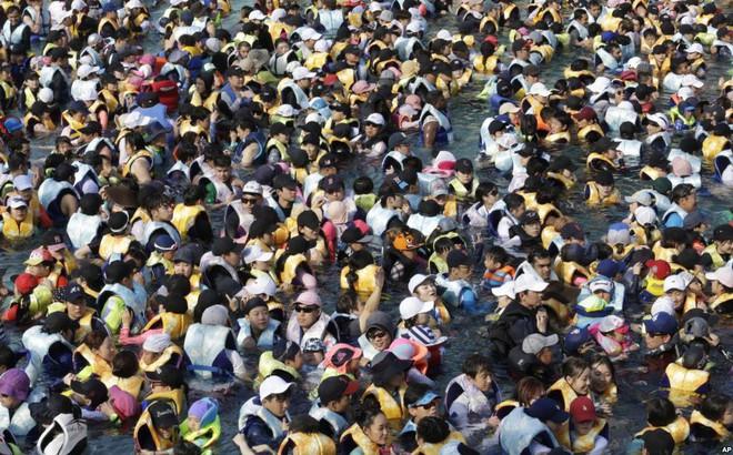 24h qua ảnh: Bể bơi đông đặc người giữa nắng nóng khủng khiếp ở Hàn Quốc