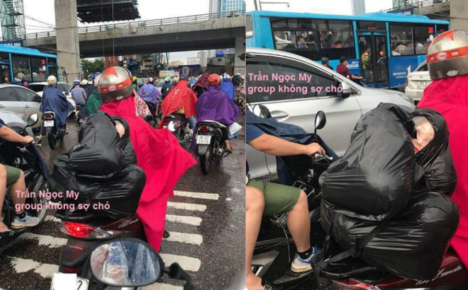 Người đàn ông chở túi đen sau xe, gương mặt lấp ló phía trong khiến nhiều người thót tim