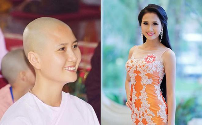 Hình ảnh thí sinh có mái tóc đẹp nhất Hoa hậu Việt Nam 2014 cạo trọc đầu gây xôn xao