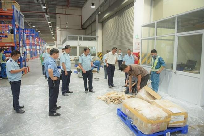 Gần 1 tấn vẩy tê tê, ngà voi trong 2 lô hàng đi máy bay về Việt Nam - Ảnh 1.
