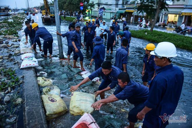 Hàng trăm người Sài Gòn oằn lưng gia cố bờ bao vỡ do triều cường - Ảnh 1.