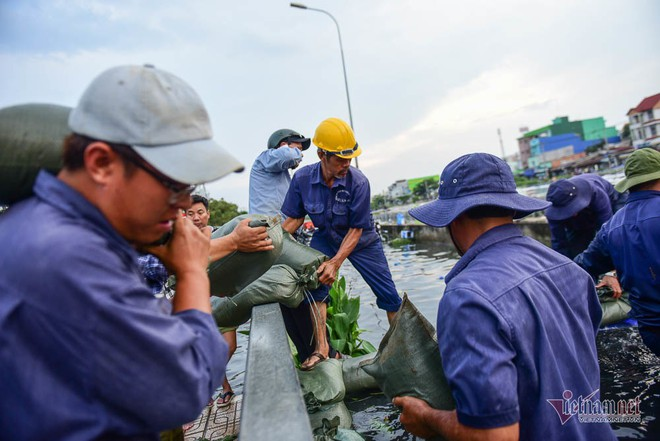 Hàng trăm người Sài Gòn oằn lưng gia cố bờ bao vỡ do triều cường - Ảnh 2.