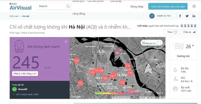 Những điểm ở Hà Nội ô nhiễm không khí nguy hiểm nhất trong ngày đầu tháng 10 - Ảnh 4.