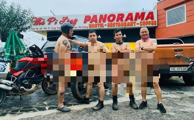 Công an huyện Mèo Vạc đã nhắc nhở 4 người đàn ông khỏa thân trên Mã Pì Lèng