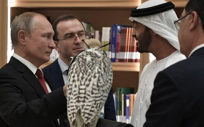 """Ông Putin tặng Thái tử UAE loài chim quý của Nga, nhận được cả một """"tòa lâu đài"""" dát vàng"""