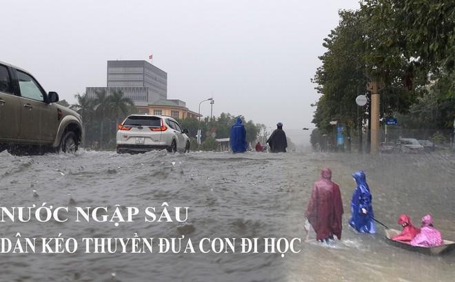 Nghệ An: Ngập sâu ở thành phố, dân dùng chõng tre làm bè đi lại trên đường