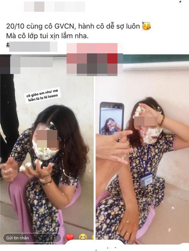 Học sinh đăng ảnh cô giáo bị trét bánh kem đầy mặt và bình luận: Hành cô dễ sợ luôn - ảnh 1