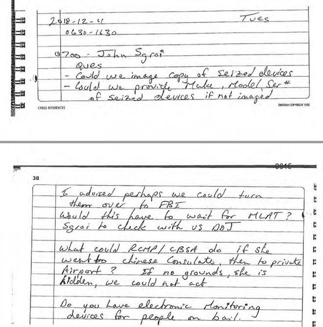 Canada tiết lộ mẩu giấy chép tay của cảnh sát về Giám đốc Huawei - Ảnh 1.