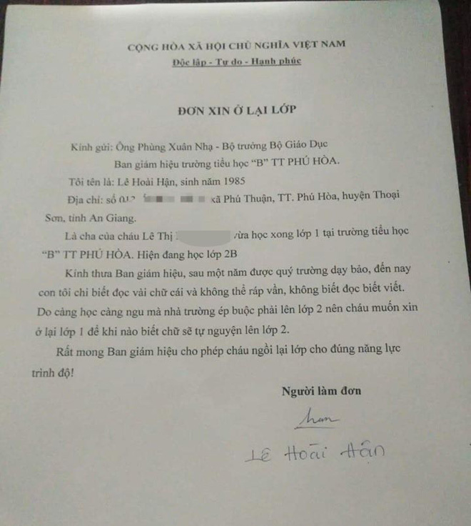 Thực hư lá đơn cha gửi cho Bộ trưởng xin cho con gái ở lại lớp 1 - Ảnh 1.
