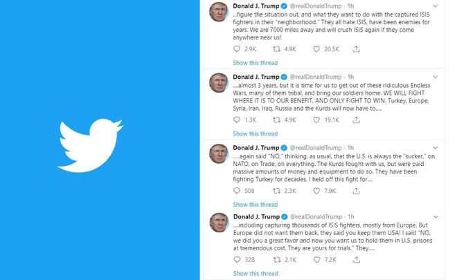 Bị cáo buộc bỏ rơi đồng minh, TT Trump dồn dập đăng tweet lý giải quyết định rút quân đột ngột - Ảnh 1.