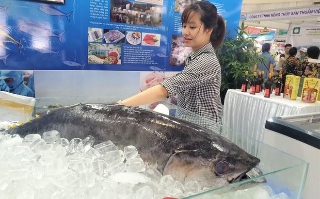 """Cá ngừ đại dương nặng 30kg, """"thủy quái"""" dài cả mét gây """"sốt"""" tại chợ hải sản Hà Nội"""