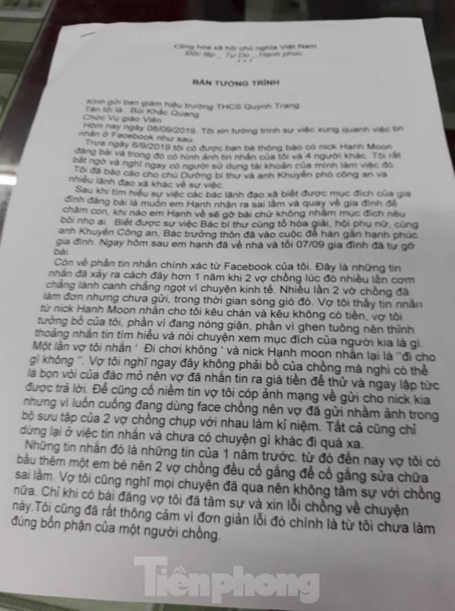 Bị tố nhắn tin gạ tình học sinh cũ, thầy giáo ở Thái Bình nói gì? - Ảnh 1.