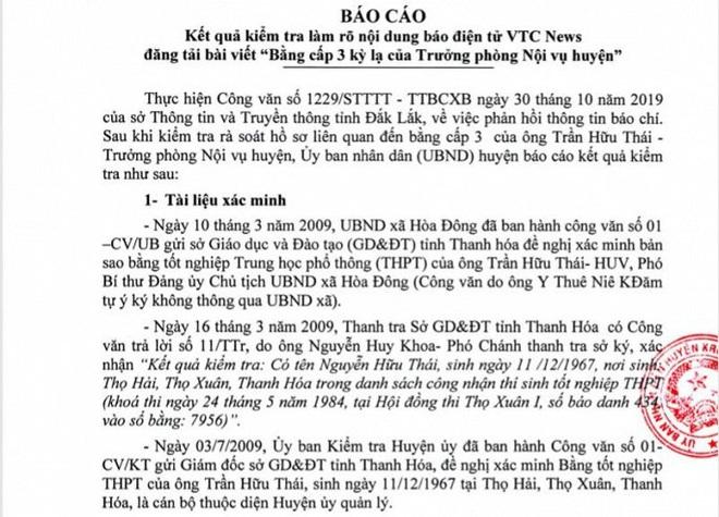 Đắk Lắk kết luận về bằng cấp 3 kỳ lạ của Trưởng phòng Nội vụ huyện: Ông Thái bị oan do lỗi đánh máy - Ảnh 1.