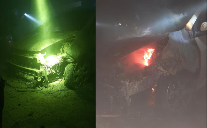 Xe để trong tầng hầm chung cư bốc cháy dữ dội, nhiều hộ dân hoảng sợ bỏ chạy ra ngoài