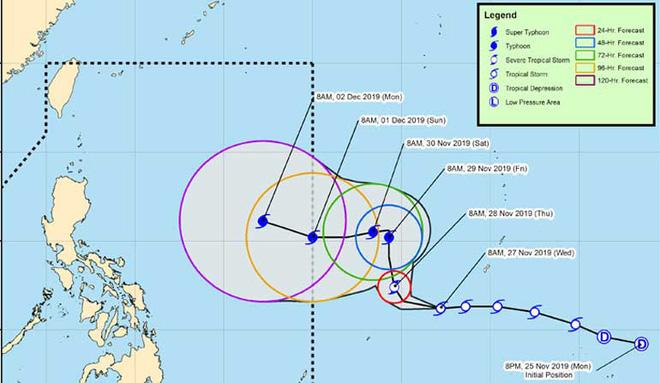Trước thềm SEA Games 2019, bão Tisoy nhân đôi sức mạnh, có khả năng đổ bộ Philippines - ảnh 1