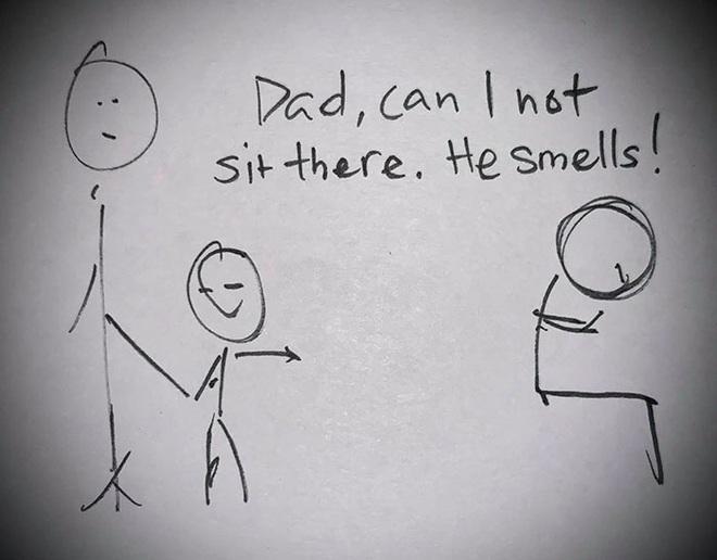 Con trai khó chịu vì ngồi cảnh người lạ có mùi, cha vẽ tranh dạy cách ứng xử và phản ứng của cậu bé - Ảnh 1.