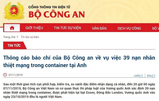 Bộ Công an: 39 nạn nhân thiệt mạng trong container tại Anh đều là người Việt Nam - Ảnh 2.