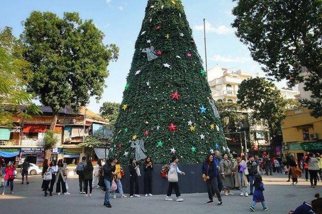 Hà Nội xuất hiện nhiều cây thông siêu to khổng lồ đón Noel 2019 - Ảnh 6.