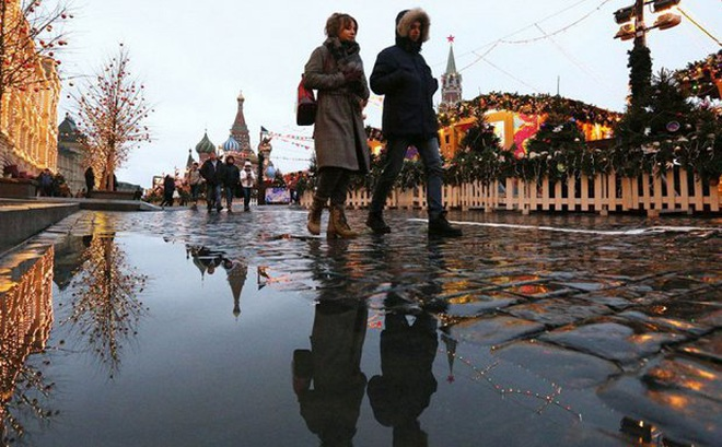 Moskva và nhiều thành phố ở Nga không có tuyết tháng 12