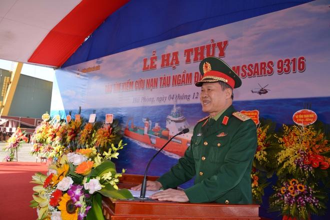 Đại tướng Ngô Xuân Lịch dự Lễ hạ thủy tàu tìm kiếm, cứu nạn tàu ngầm đa năng MSSARS 9316 - Ảnh 4.