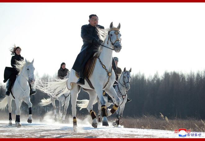 Chủ tịch Kim Jong Un và phu nhân cưỡi bạch mã đạp trên tuyết trắng, KCNA ca ngợi: Lưu lại dấu chân thiêng liêng - Ảnh 21.