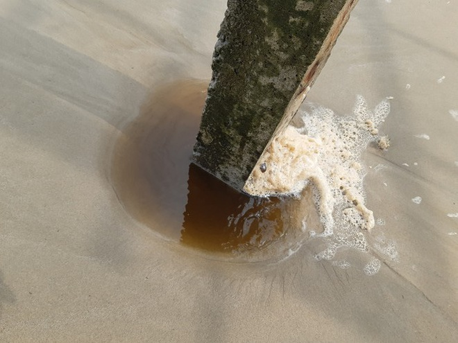 Quảng Ngãi: Nước biển đổi màu lạ, nổi bọt vàng bất thường - Ảnh 5.