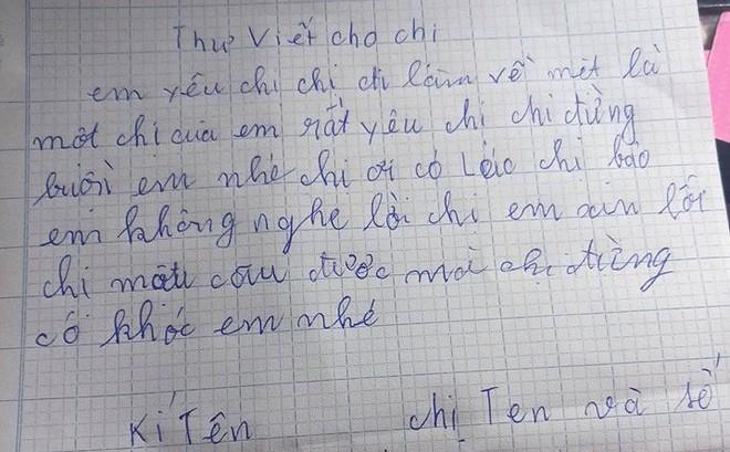 Bức thư của em gái mồ côi gửi cho chị khiến dân mạng rơm rớm nước mắt