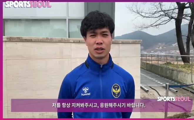 """""""Lên sóng"""" trong màu áo Incheon United, Công Phượng dần quen với tiếng Hàn Quốc"""