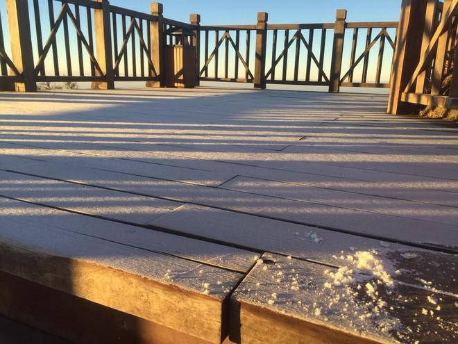 Xuất hiện lớp băng tuyết trên đỉnh Fansipan ngày đầu xuân Kỷ Hợi - Ảnh 2.