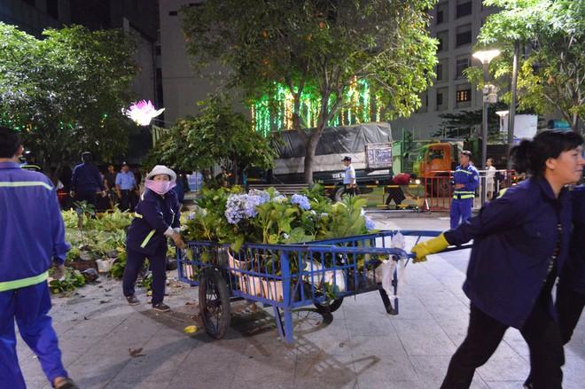 Dọn dẹp đường hoa Nguyễn Huệ, nhiều người vượt rào, tranh giành hoa - Ảnh 1.