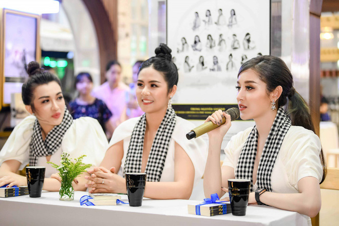Hoa hậu Ngọc Hân, Á hậu Huyền My, Á hậu Lệ Hằng đã giao lưu và ký tặng sách tại không gian Trung Nguyên Legend - Ảnh 4.