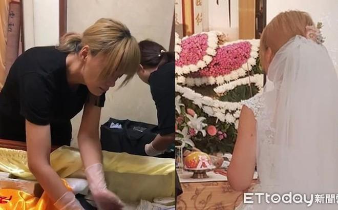 Vị hôn phu qua đời trước đám cưới, người phụ nữ đeo nhẫn bằng giấy và mặc áo cô dâu trong tang lễ khiến ai cũng xót xa