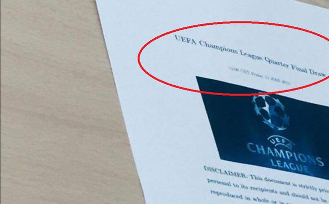 """Fan bóng đá dậy sóng vì bức ảnh """"lộ kết quả bốc thăm Champions League"""""""