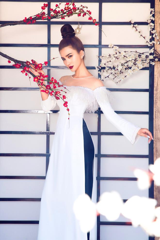 Kim Tuyến quyến rũ, xinh đẹp khi diện áo dài cách tân - Ảnh 4.