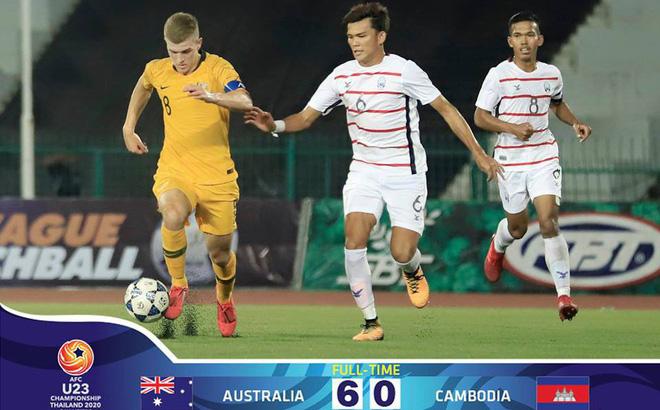 """Dồn sức """"chơi lớn"""", U23 Campuchia vẫn nhận mưa bàn thua ở vòng loại U23 châu Á"""