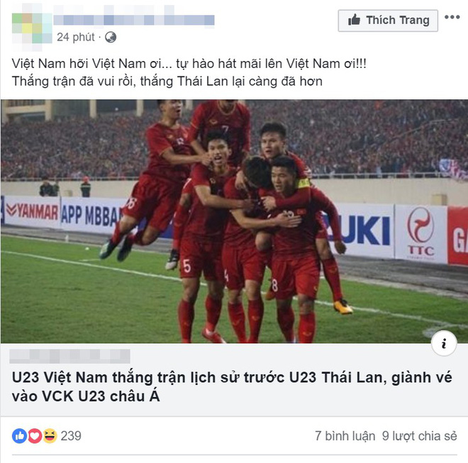 Việt Nam thắng trận lịch sử trước U23 Thái Lan, sự phấn khích tràn ngập khắp mạng xã hội - Ảnh 3.