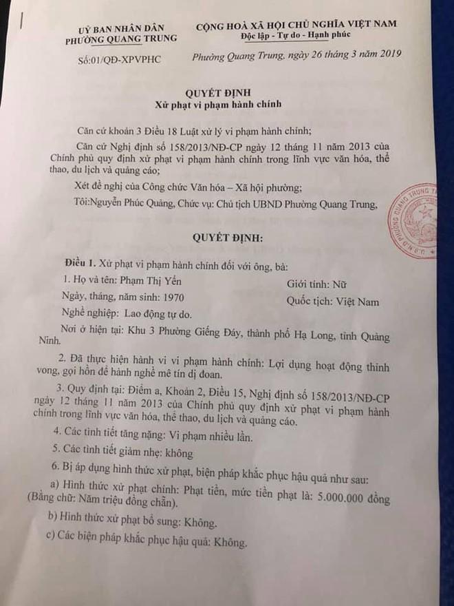 Con trai bà Phạm Thị Yến chùa Ba Vàng nộp phạt 5 triệu đồng thay cho mẹ - Ảnh 1.