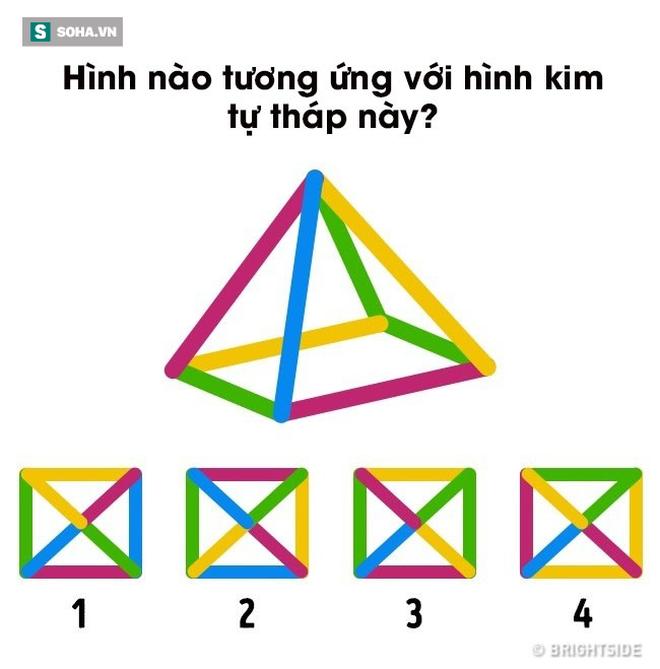 Câu đố logic: Hình nào tương ứng với hình kim tự tháp này? - Ảnh 2.