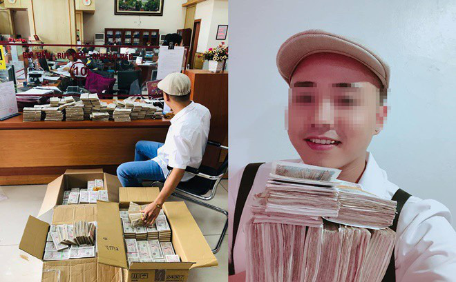 Xôn xao hình ảnh thanh niên bảnh bao đóng thùng 200 triệu đồng tiền lẻ đi gửi ngân hàng