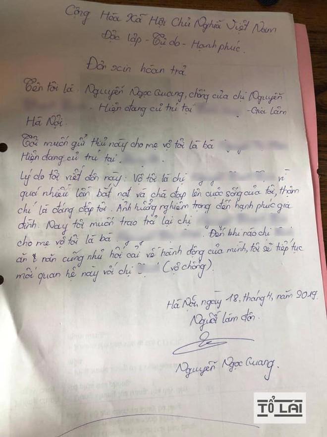 Chán nản vì bị đánh đuổi quanh làng, người đàn ông viết đơn trả vợ về nơi sản xuất - Ảnh 2.