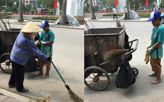 Bé trai đi quét rác với mẹ ngày nghỉ lễ, lí do của em khiến dân mạng rưng rưng