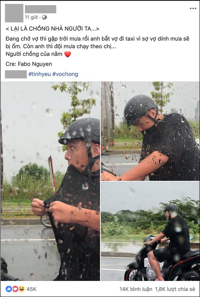 Choáng với độ chiều vợ của người chồng trong bức ảnh đội mưa chạy xe máy đuổi theo taxi - Ảnh 1.