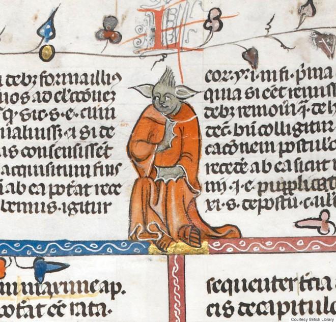 Bất ngờ phát hiện hình vẽ giống hệt Yoda của Star Wars trong bản thảo sách từ thế kỷ 14 - Ảnh 1.