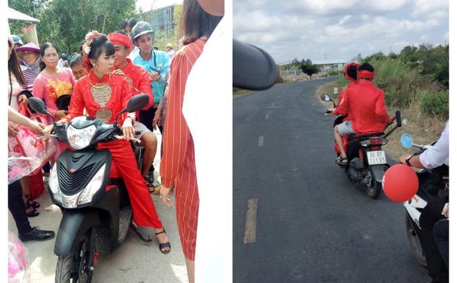 """Cô dâu """"rước"""" chú rể gãy chân bằng xe máy: """"Cả xóm chạy theo chụp ảnh, rầm rộ cả đường"""""""